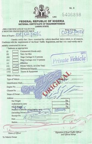 Certificate of Road Worthiness.