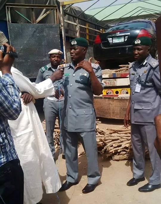 Nigeria customs intercept car smuugled within bundles of firewood