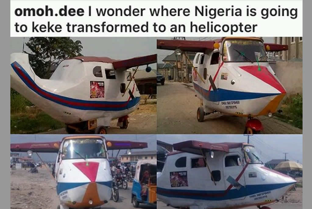 nigerian man transforms keke into helicopter