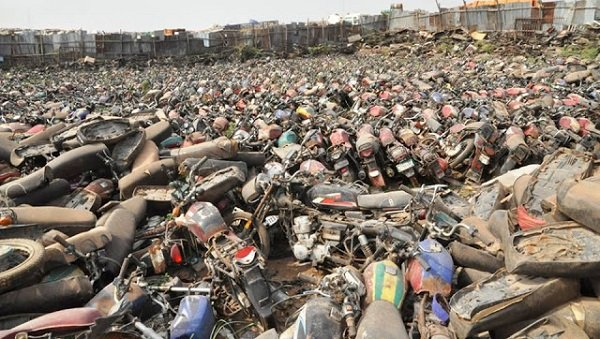 crushing and recycling of impounded Okada