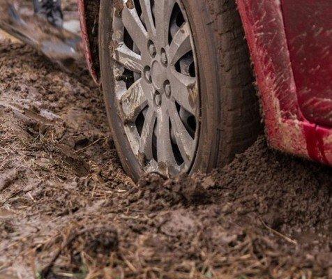 a car stuck in mud
