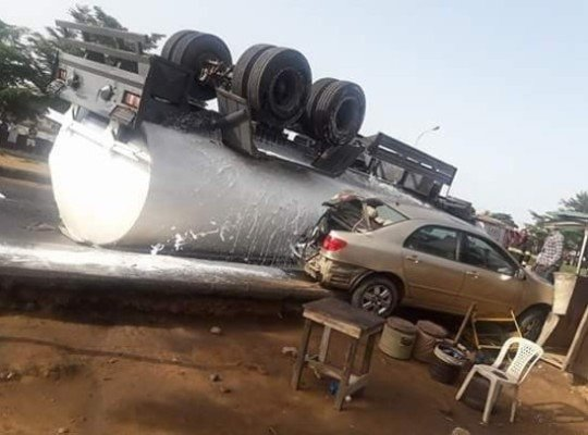 flipped tank truck at igando