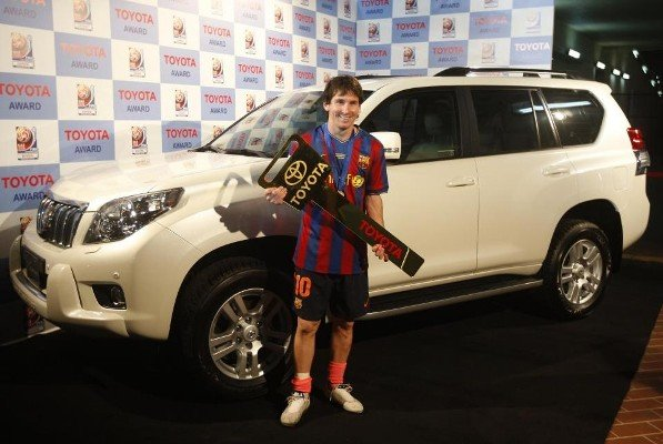 messi and his toyota landcruiser prado gifted to him