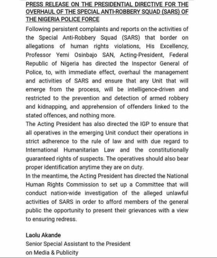 SARS press release