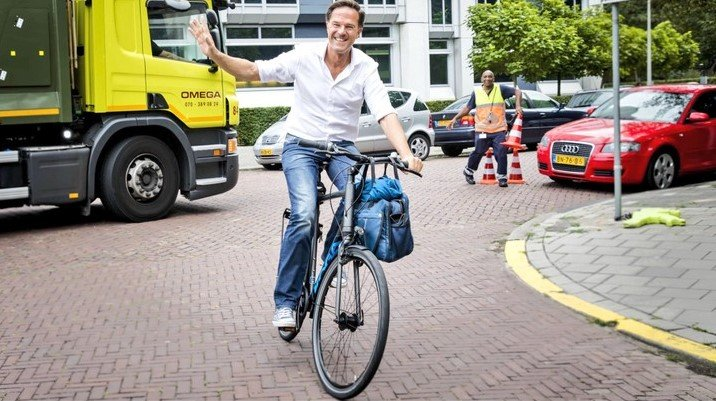 Netherland prime minister on bicycle