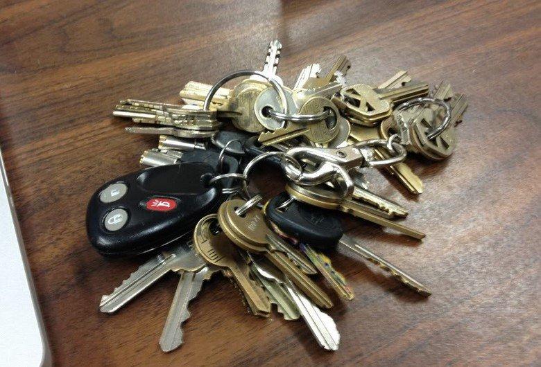 bunch of keys with car key