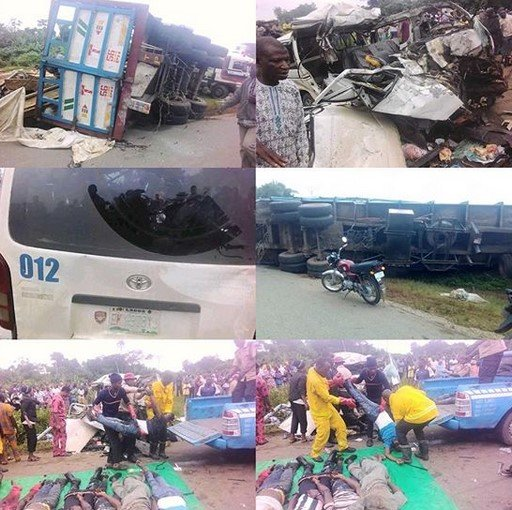 The sad incidence that took the lives of 18 people took place this morning in Awo community of Irepodun/Ifelodun LGA of Ekiti State In a report, a Toyota Hiace bus which was conveying passengers from Lagos to Abuja had a head-on collision with a trailer. The impact of the collision was much and it ended up crushing the passengers inside the bus. Eye witnesses claimed that no soul survived the accident. The cause of the accident is yet to be known, but some FRSC officials are already on ground to evacuate the remains of the victims. May their soul rest in peace.