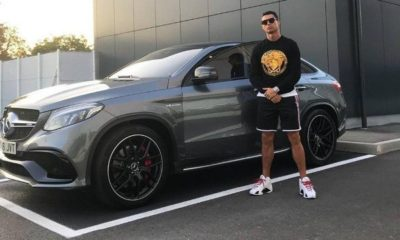 ronaldo poses with mercedes