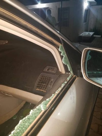 bashed car by traffic robbers