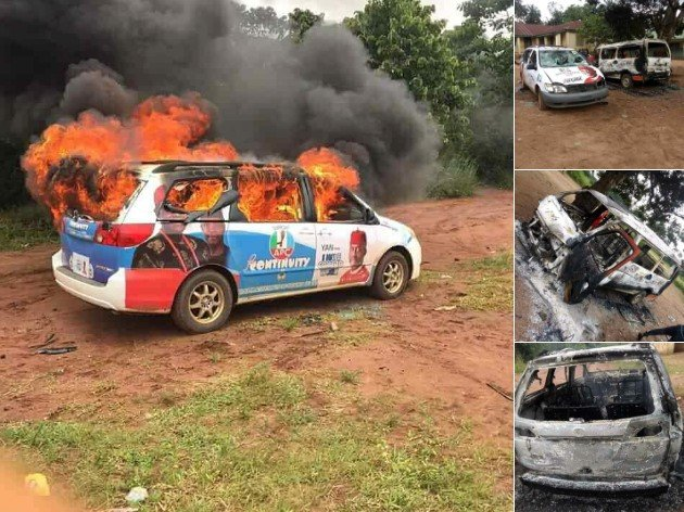 campaign vehicles set ablaze in imo state