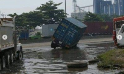 container fall in apapa