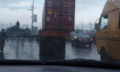 dangerous trailer with container