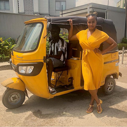 dj cuppy poses with keke