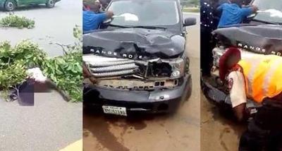 driver knocks down lady