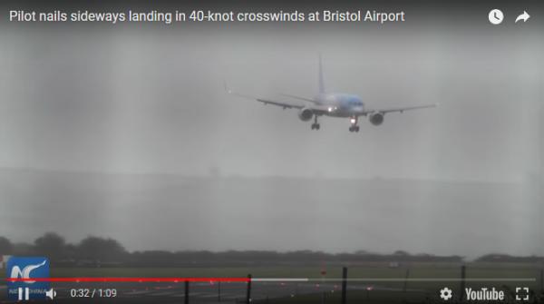 pilot sideways airplane landing