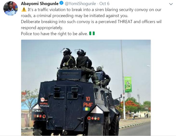 police tweet traffic violation