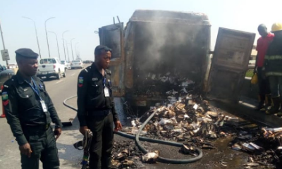 vehicle catch fire third mainland bridge