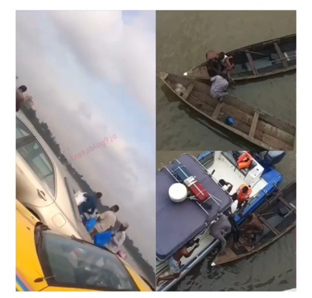 driver jumps into lagoon in lagos
