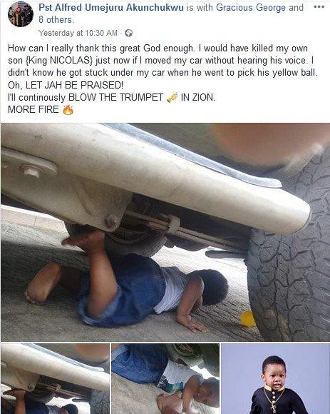 screenshot of the pastor's facebook post