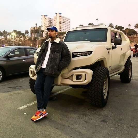 chris brown army truck