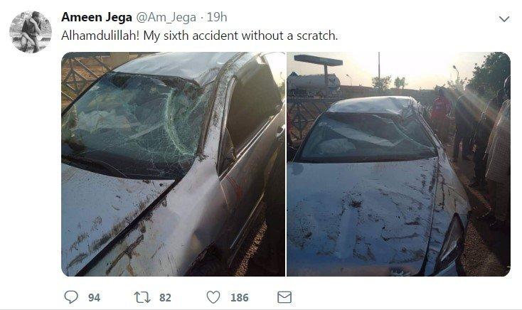 man celebrates sixth accident