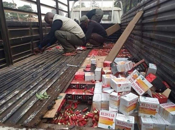 nigerian police truck loaded with live catridge
