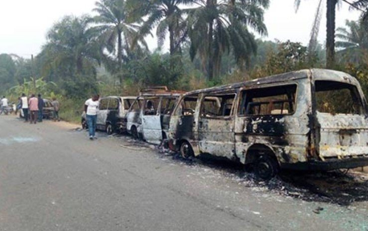 buses conveying inec electoral materials burnt