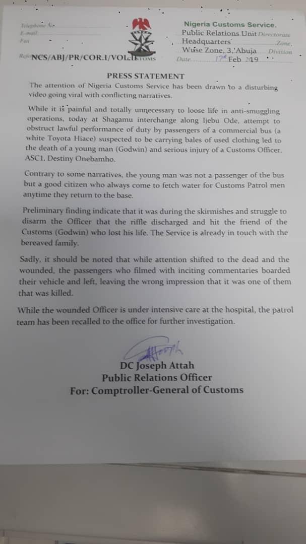 nigerian customs official press statement