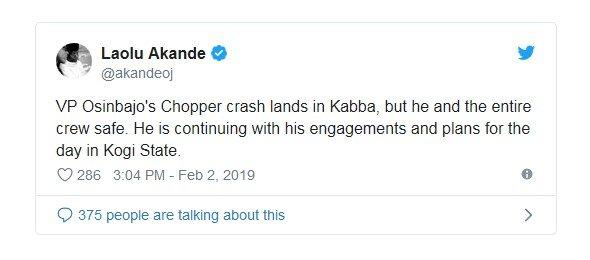 vp osinbajo chopper crash land in kogi