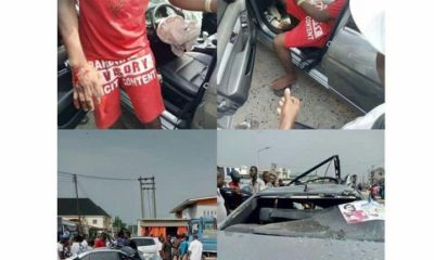man crashes borrowed benz