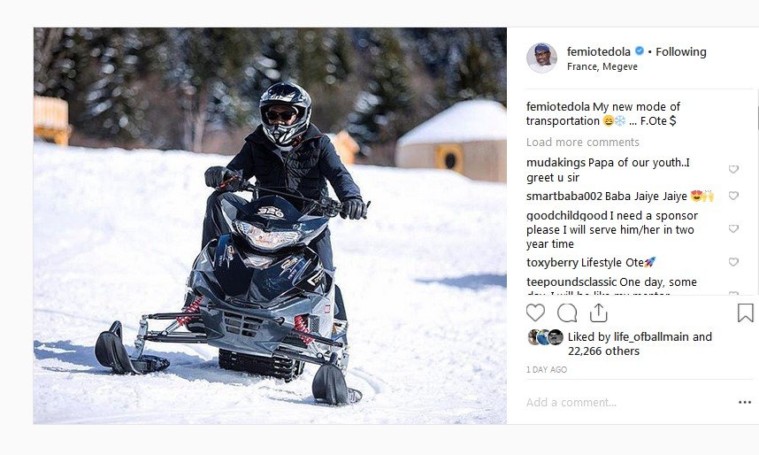 femi otedola mode of transportation
