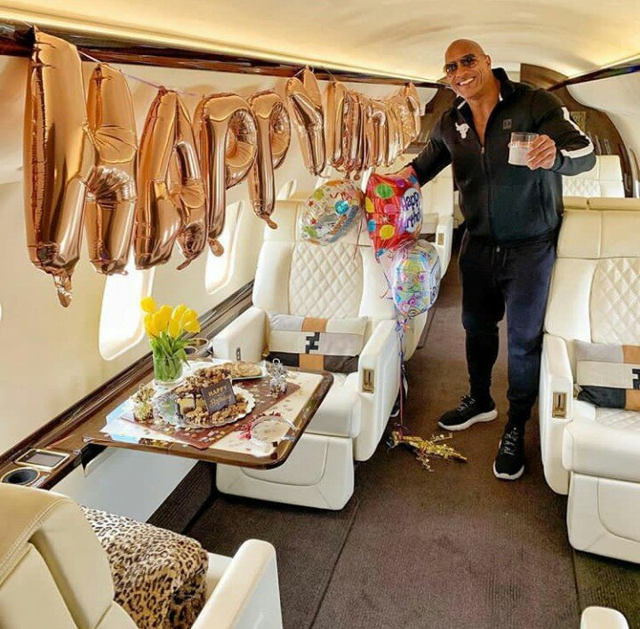 the rock inside his private jet