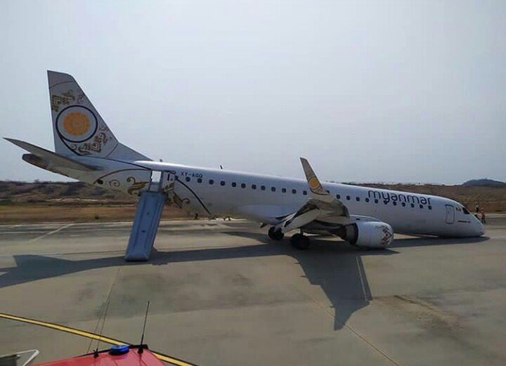 plane landed without front wheels by pilot
