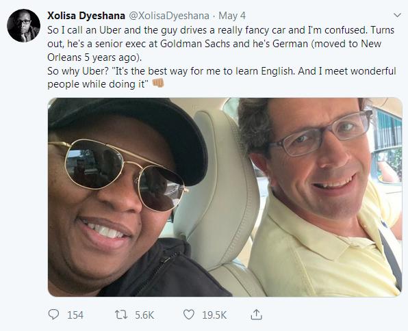 uber driver senior executive goldman sach