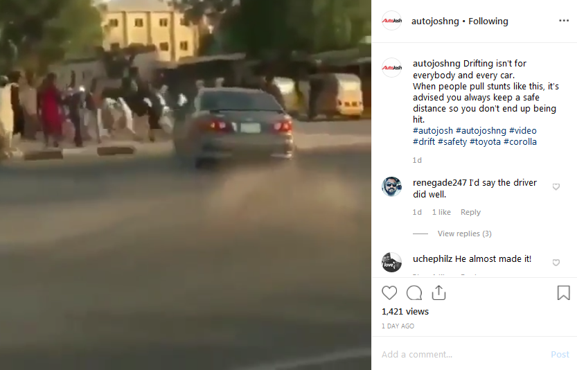 toyota corolla driver hit by-standers while drifting