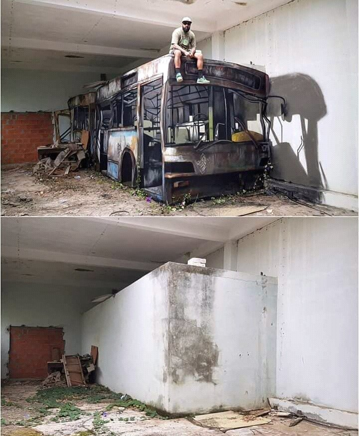 bus painted on wall
