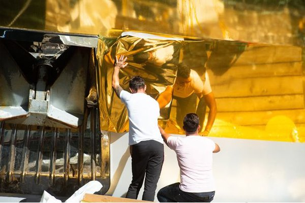 Yacht Wrapped In Gold 3