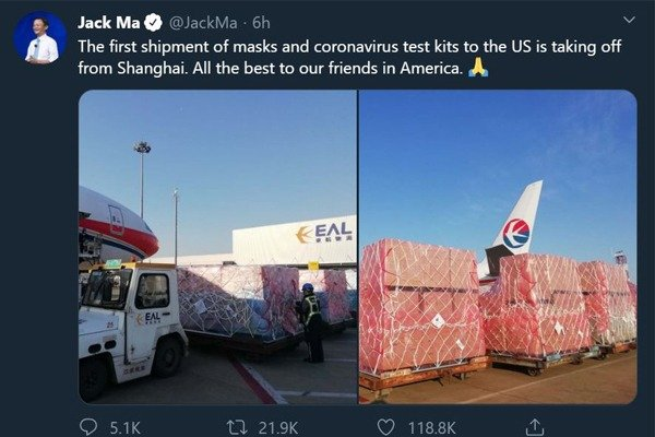 The First Shipment Of Masks & Test Kits From China To The US Departs - Jack Ma
