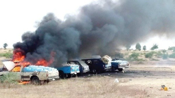 The-recovered-nigerian-army-destroys-six-vehicles-used-in-conveying-food-to-boko-haram-hideouts