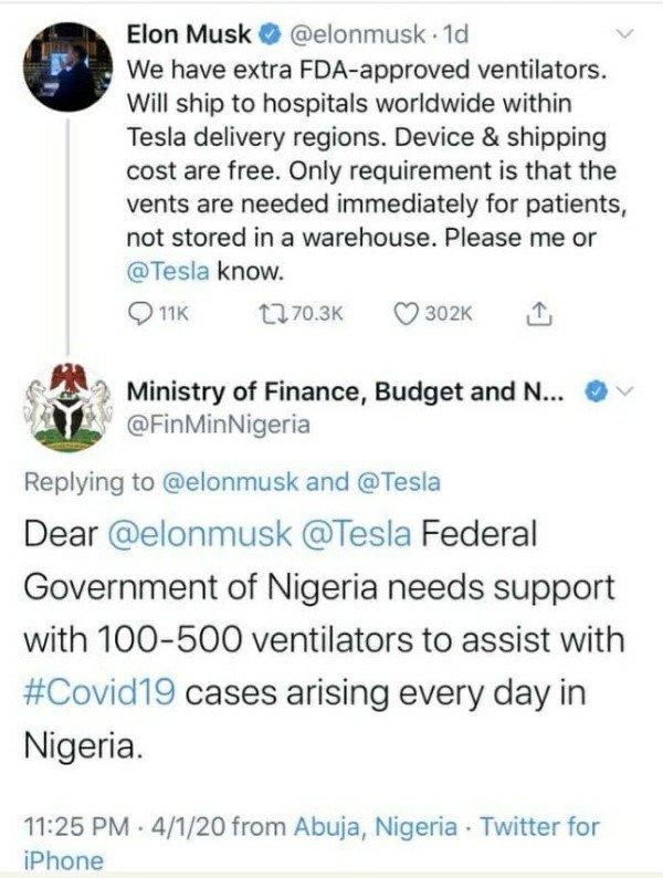 coronavirus-nigerias-ministry-of-finance-begs-tesla-motors-ventilators