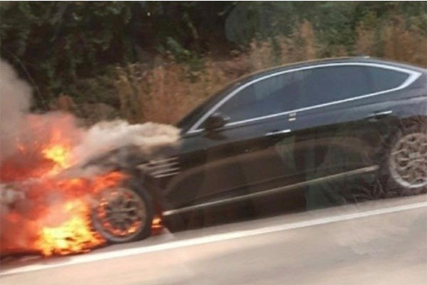 2021 Genesis G8 Sedan Caught Fire After Hitting An Object In South Korea