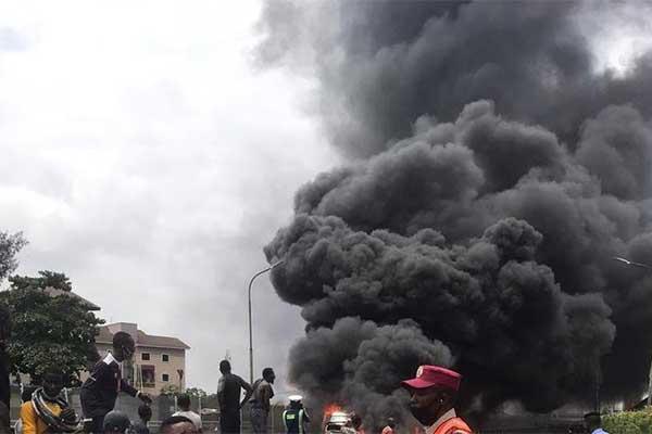 Danfo Bus Carrying Kegs Of Diesel Explodes On 3rd Mainland Bridge
