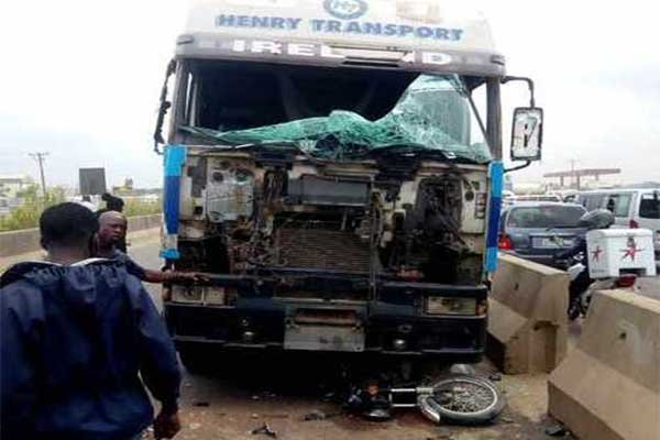 Okada Rider Crushed To Death By A Truck On Lagos/Ibadan Expressway