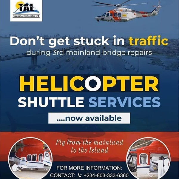 ₦240,000 Helicopter Shuttle Introduced As 3rd Mainland Bridge Is Closed For Repairs