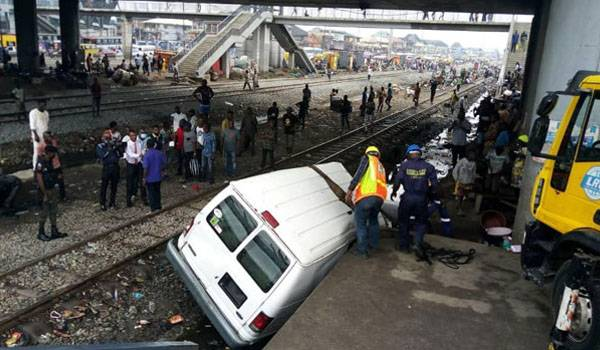 BREAKING: Ford Bus Collides With Moving Train At Oshodi