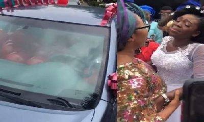 Image of A Lady named Titi who was presented a car gift on her wedding day