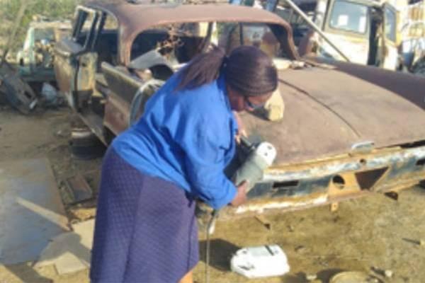 Meet Nosipho Kholutsoane, South African Woman, Who Transforms Old Cars Into Masterpieces (Photos)
