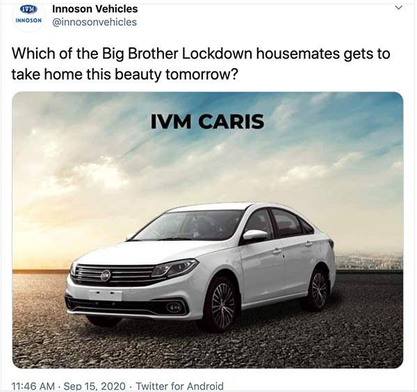 BBNaija: This Is The Brand New IVM Caris That Will Be Won At Today's Proudly Nigerian Challenge Sponsored By Innoson
