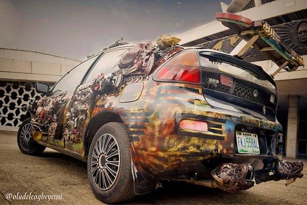 Nigerian, Oladele Ogbeyemi Converts Mazda 323 Into Metal Art