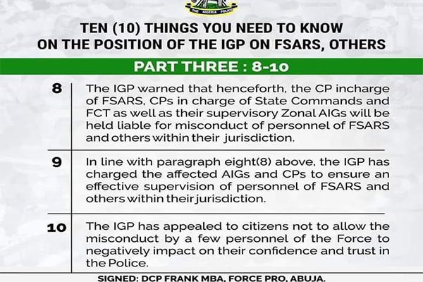 NPF Rolls Out 10 Things That You Need To Know On The Position Of The IGP On FSARS Others (PHOTOS)